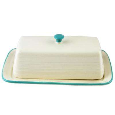 Hollydale 7.5 in. 2-Piece Linen and Teal Butter Dish with Lid