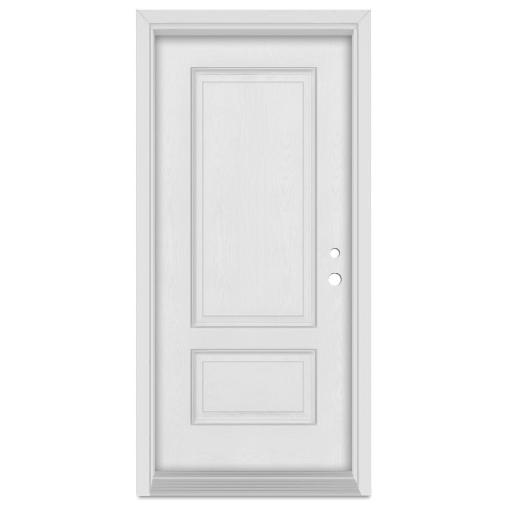 36 in. x 80 in. Infinity Left-Hand Inswing 2 Panel Finished Fiberglass Mahogany Woodgrain Prehung Front Door