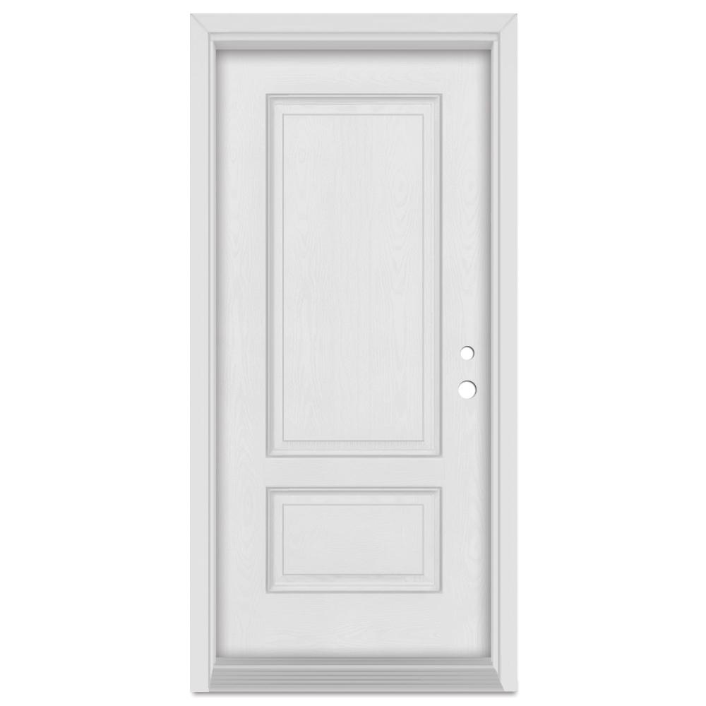 Stanley Doors 36 in. x 80 in. Infinity Left-Hand Inswing 2 Panel Finished Fiberglass Oak Woodgrain Prehung Front Door