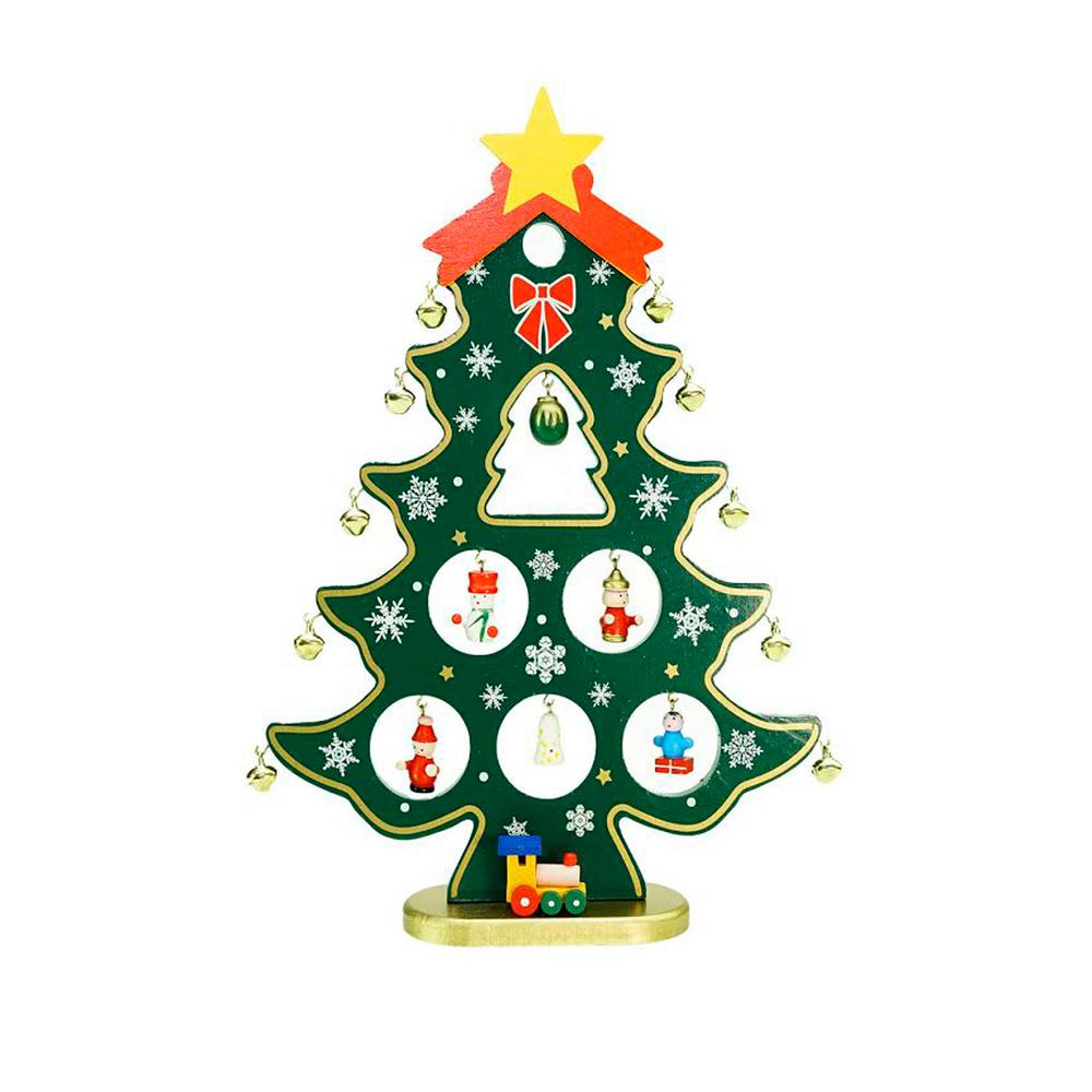 Northlight 11 25 in Wooden Christmas Tree Cut Out with Miniature Ornaments Table Top Decoration