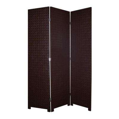 CRISS CROSS FAUX LEATHER 6 ft. Brown 3-Panel Room Divider