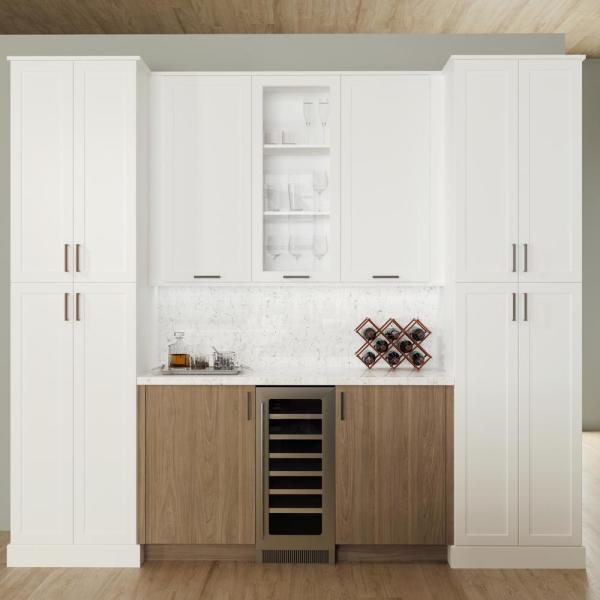 Hampton Bay Designer Series Edgeley Assembled 15x30x12 In Wall Kitchen Cabinet With Glass Door In Driftwood Wgd1530 Eddw The Home Depot
