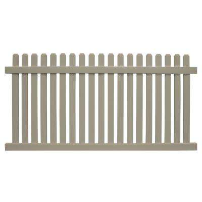 Provincetown 4 ft. H x 8 ft. W Khaki Vinyl Picket Fence Panel Kit