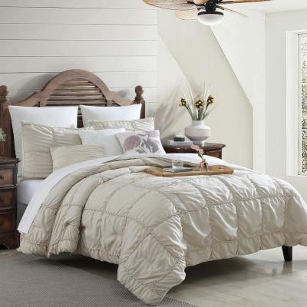 7-Piece Multi-Colored White Kate Embellished King Cotton Blend Comforter Set