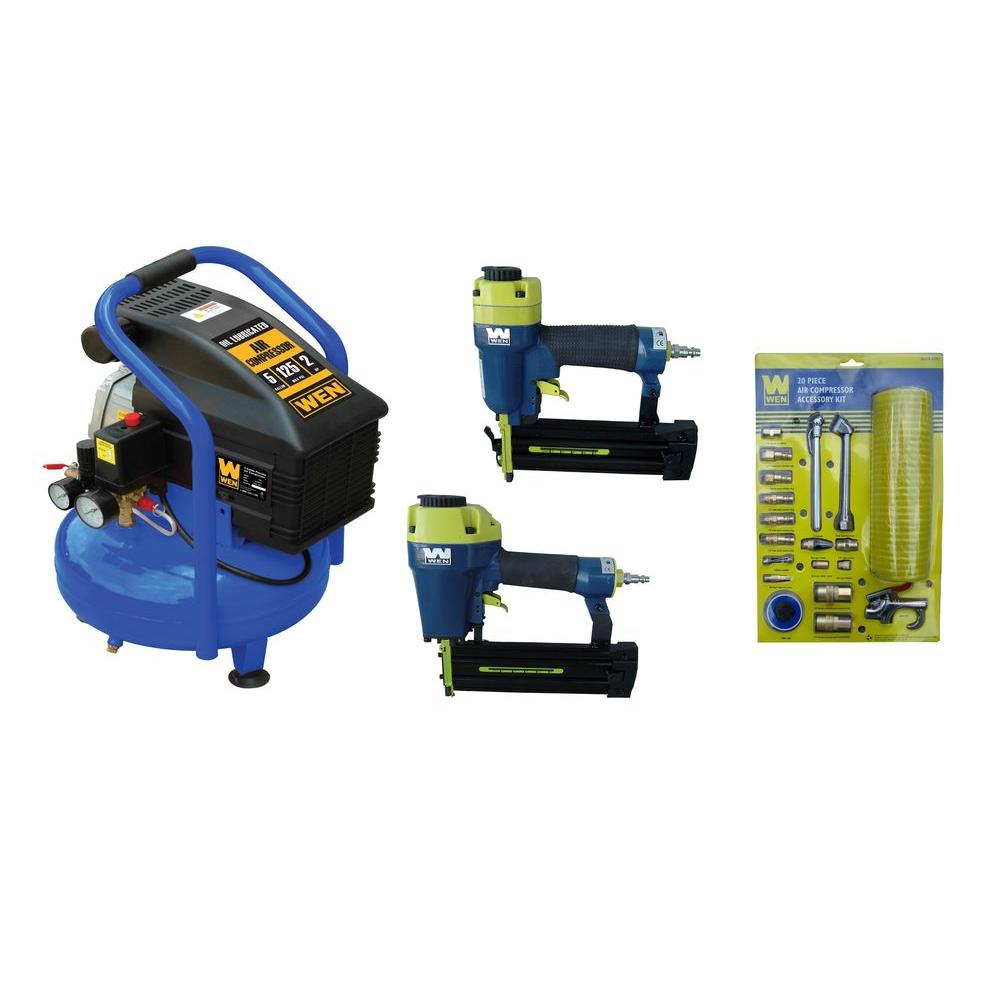 WEN 5 gal. Compressor with Brad/Finish Nailer and Air Accessory Combo Kit