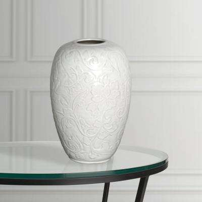 11 in. x 18 in. H White Glazed Decorative Botanical Relief Vase