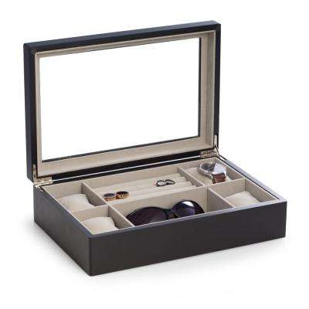 12.5 in. D x 3.25 in. H x 8.25 in. W Wood Storage/ Valet in Black