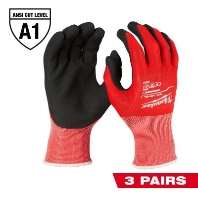Medium Red Nitrile Level 1 Cut Resistant Dipped Work Gloves (3-Pack)