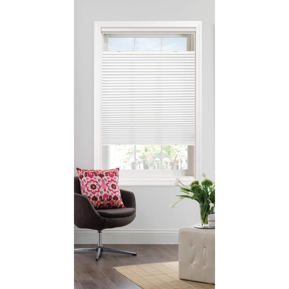 Bali Cut-to-Size White Light Filtering Cordless Fabric 9/16 in. Single Cell Top-Down Bottom-Up Cellular Shade - 29 in. W x 72 in. L