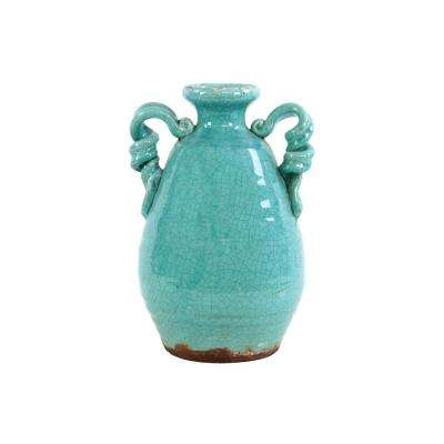 Blue Gloss Distressed Ceramic Decorative Vase