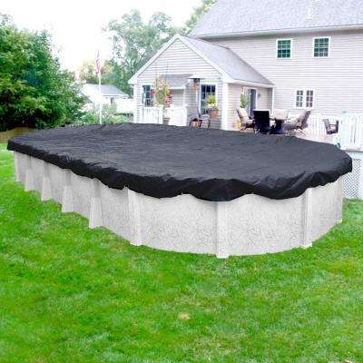 Economy 12 ft. x 21 ft. Oval Blue Solid Above Ground Winter Pool Cover