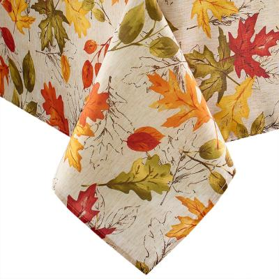 60 in. W x 120 in. L Multi Color Polyester Autumn Leaves Fall Printed Tablecloth