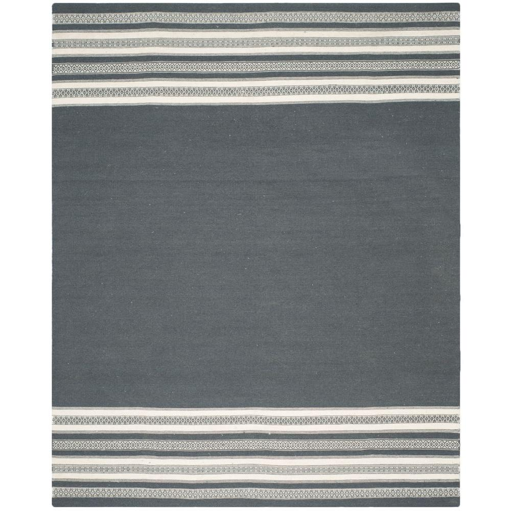 Dhurries Dark Grey 8 ft. x 10 ft. Area Rug