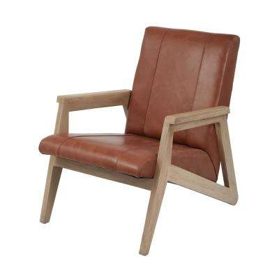 Angular Modern Tan Leather Lounge Chair
