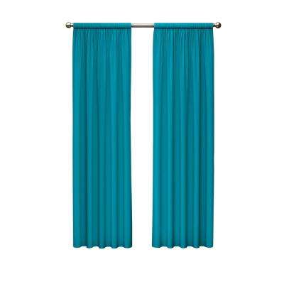 Kids Microfiber Blackout Window Curtain Panel in Rich Teal - 42 in. W x 63 in. L