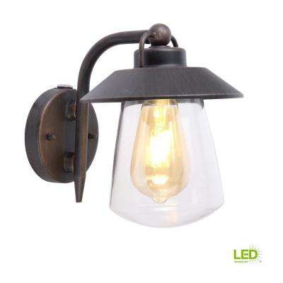 1 Light Rust Outdoor Small Wall Mount Lantern With Photocell