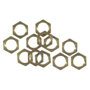 12 Solid Brass Hex Nuts