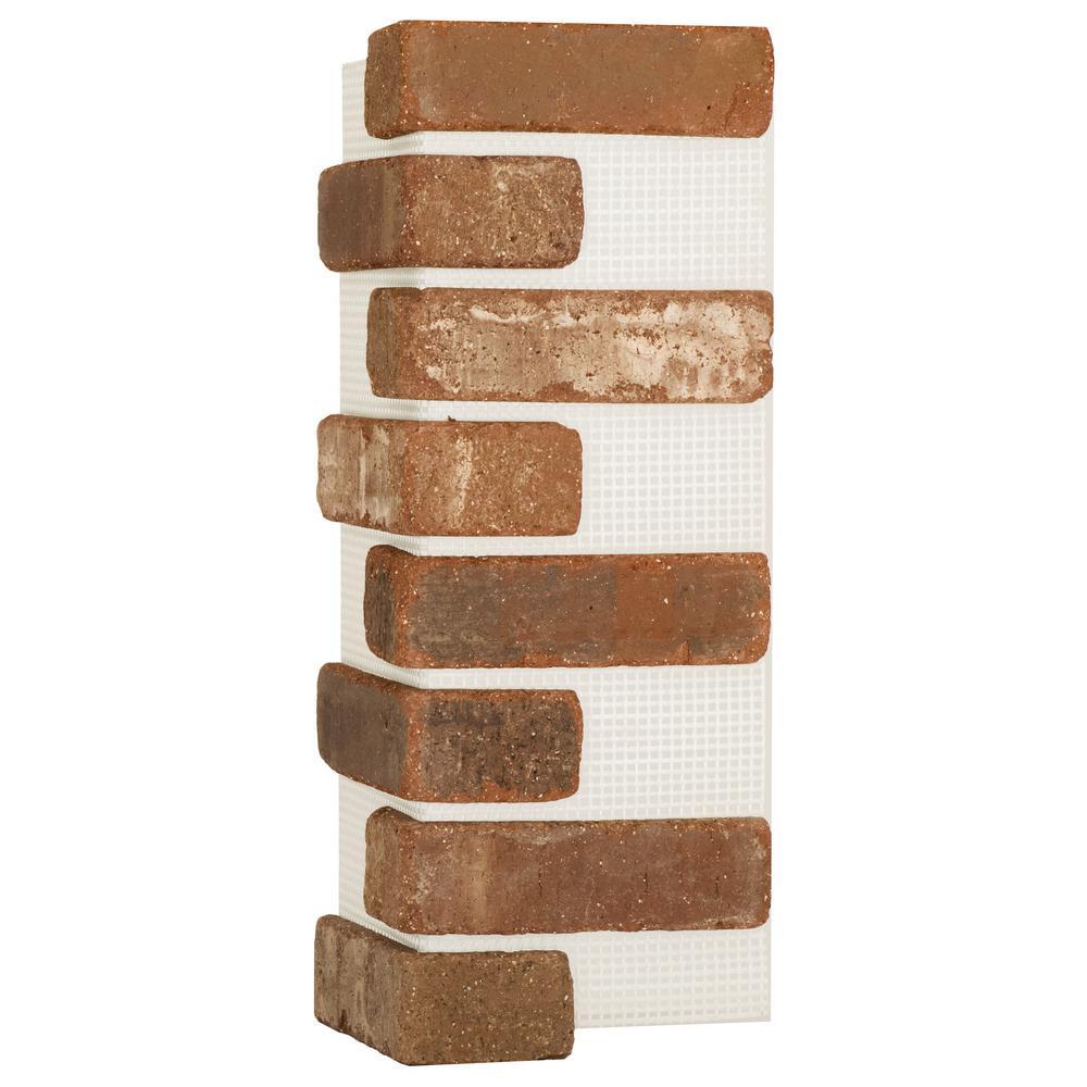 Old Mill Brick 21 in. x 15 in. x 0.5 in. Castle Gate Brickweb Thin Brick Corners