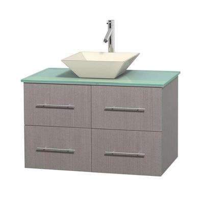 Centra 36 in. Vanity in Gray Oak with Glass Vanity Top in Green and Bone Porcelain Sink