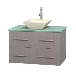 Wyndham Collection Centra 36 inch Vanity in Gray Oak with Glass Vanity Top in Green and Bone Porcelain Sink by Wyndham Collection