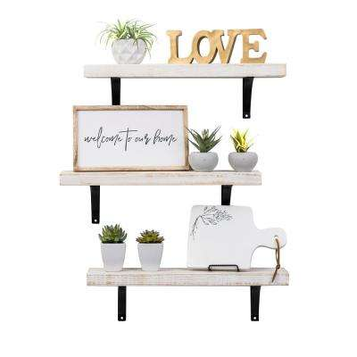 Industrial Grace Simple 5.5in x 24in x 7in White Pine Wood Set of Three Floating Decorative Wall Shelves with Brackets