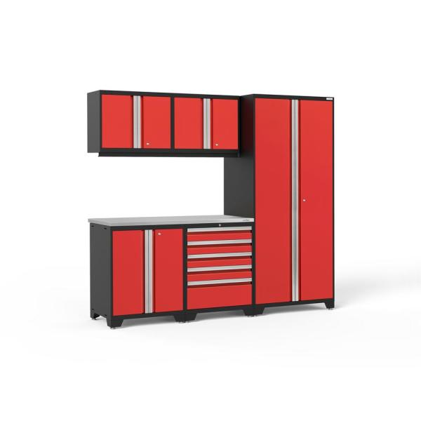 Pro Series 92 in. W x 84.75 in. H x 24 in. D 18-Gauge Welded Steel Garage Cabinet Set in Red (6-Piece)