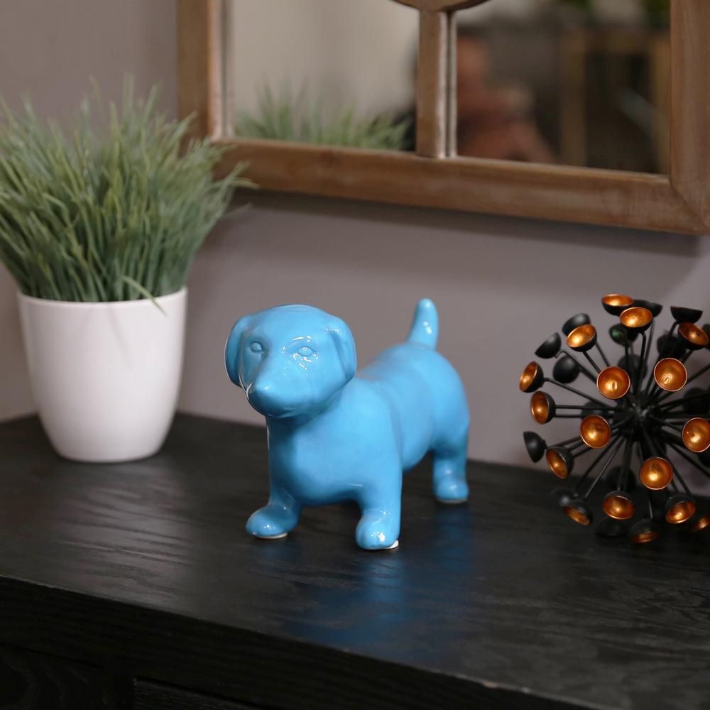 Urban Trend 6.25 in. H Dog Decorative Figurine in Blue Gl...