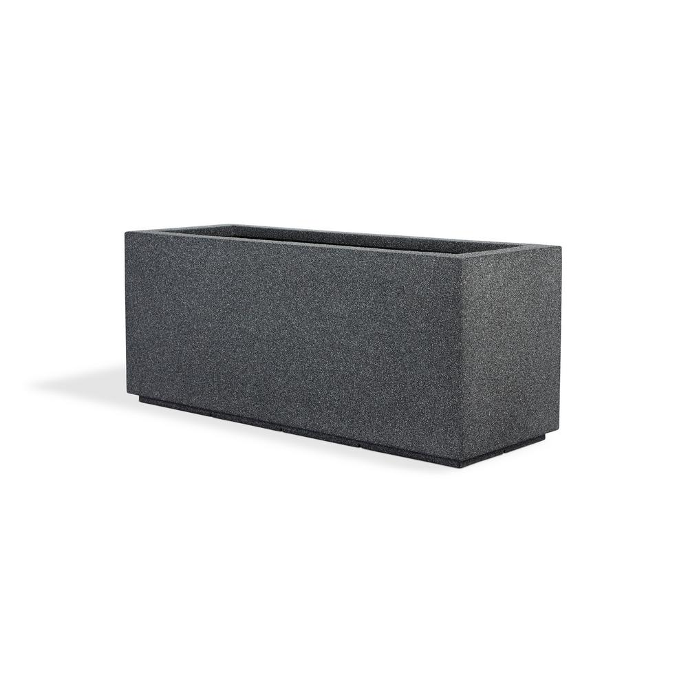 PolyStone Planters 46 in. x 17 in. Gray Granite Composite  Trough