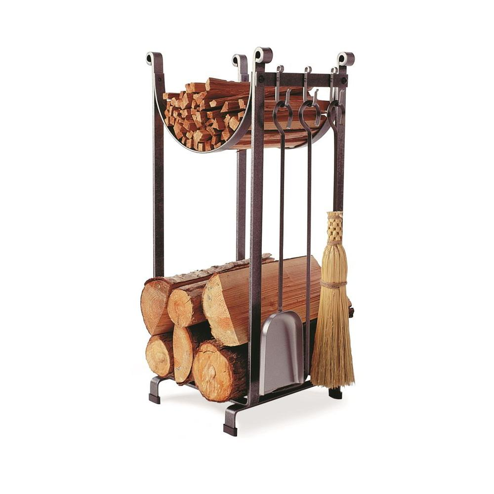 1.3 ft. Handcrafted Sling Firewood Rack with Bar and Tools Hammered