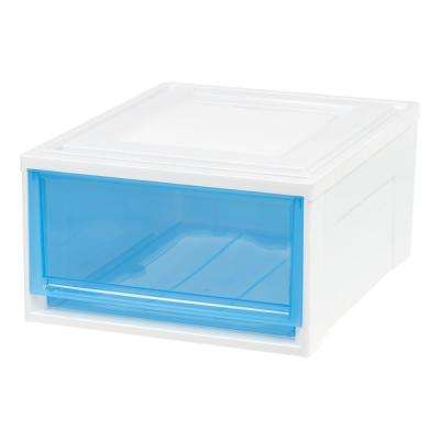 15.75 in. x 9 in. Medium Box Chest Drawer White with Blue Drawers (3-Pack)