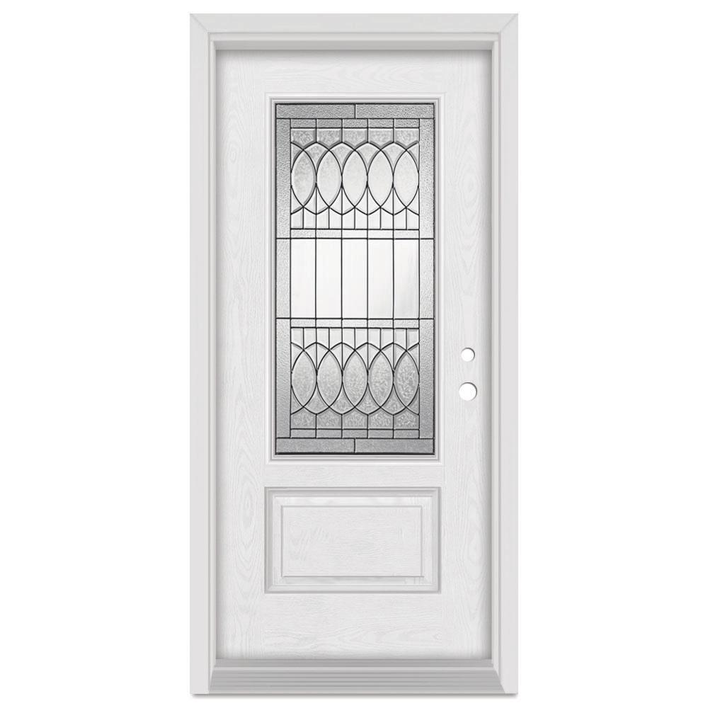 32 in. x 80 in. Nightingale Left-Hand Patina Finished Fiberglass Oak Woodgrain Prehung Front Door
