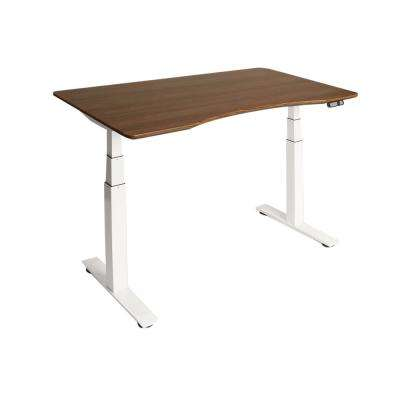AIRLIFT S3 White Electric Standing Desk with Walnut Top, 4 Memory Buttons, LED Display (Max. Height 51.4 in.)