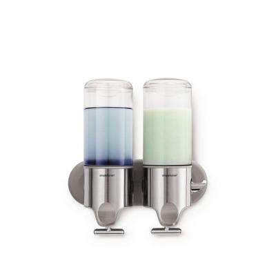 Double Wall-Mount Shampoo and Soap Dispenser in Brushed Stainless Steel