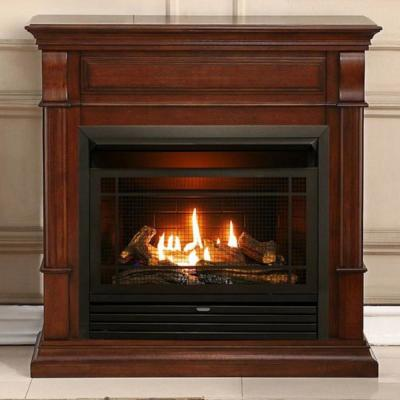 40 in. Ventless Dual Fuel Gas Fireplace in Auburn Cherry with Remote Control