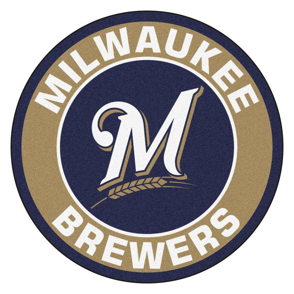 Fanmats Mlb Milwaukee Brewers Gold 2 Ft X 2 Ft Round Area Rug