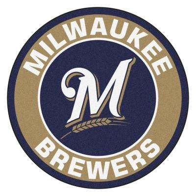 MLB Milwaukee Brewers Gold 2 ft. x 2 ft. Round Area Rug