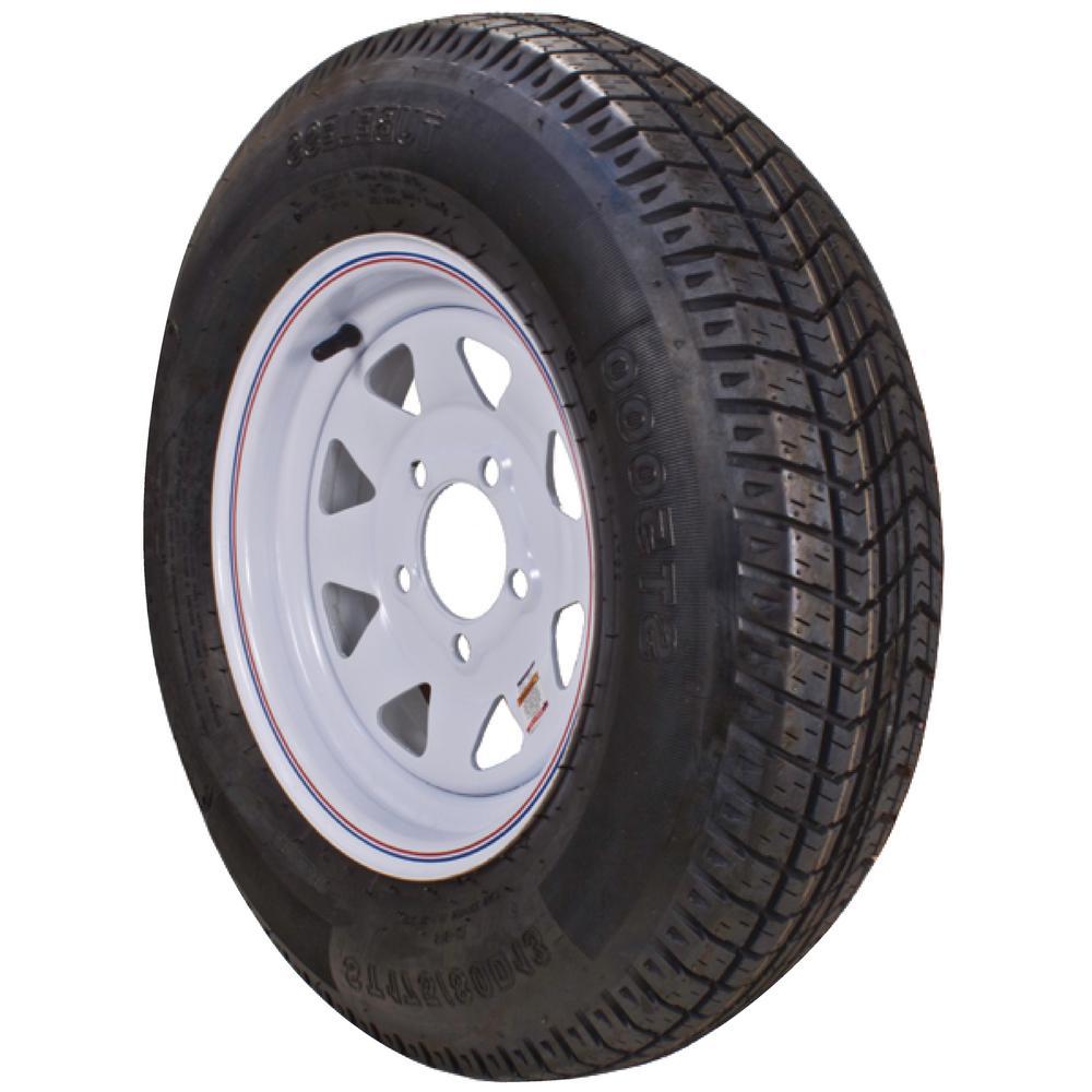 Loadstar 2040 lb. Load Capacity White with Stripe Eight Spoke Steel Wheel Rim by Loadstar