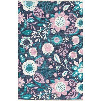Elaine Levi Teal 5 ft. x 7 ft. 6 in. Indoor Area Rug