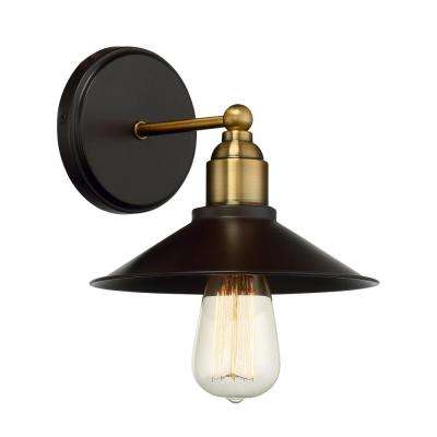 1-Light Oiled Rubbed Bronze with Brass Accents Sconce