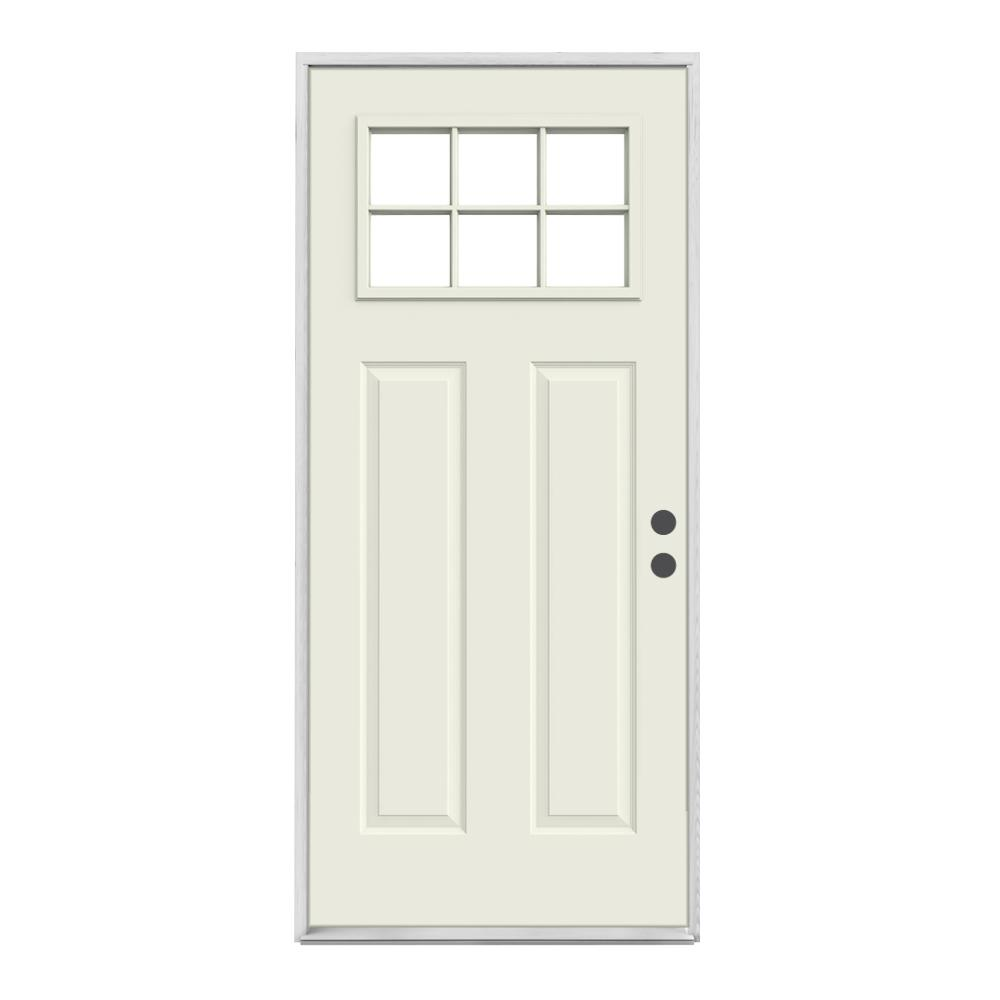 Jeld Wen 30 In X 80 In 6 Lite Craftsman Primed Steel Prehung Left Hand Inswing Front Door O03489 The Home Depot