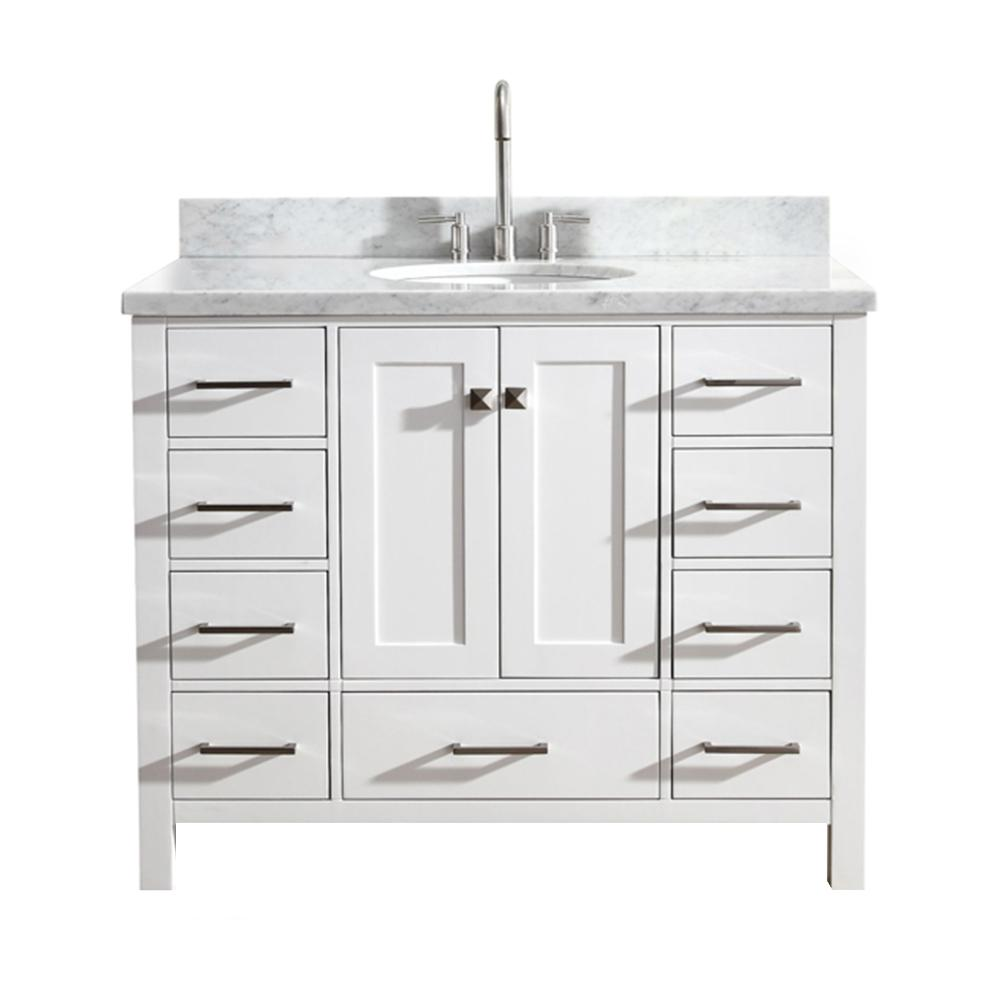 Ariel Cambridge 43 In Bath Vanity White With Marble Top Carrara