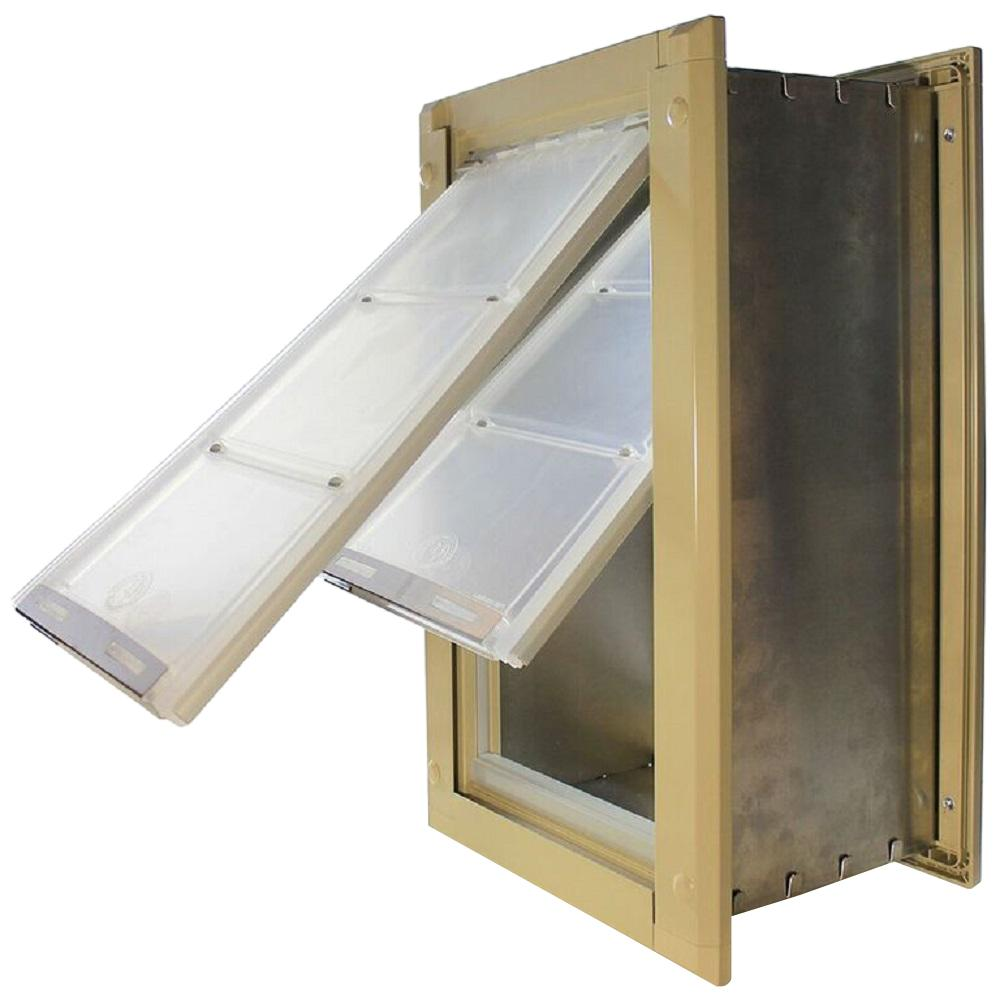 Endura Flap 8 in. x 14 in. Medium Double Flap for Walls with Tan Aluminum Frame