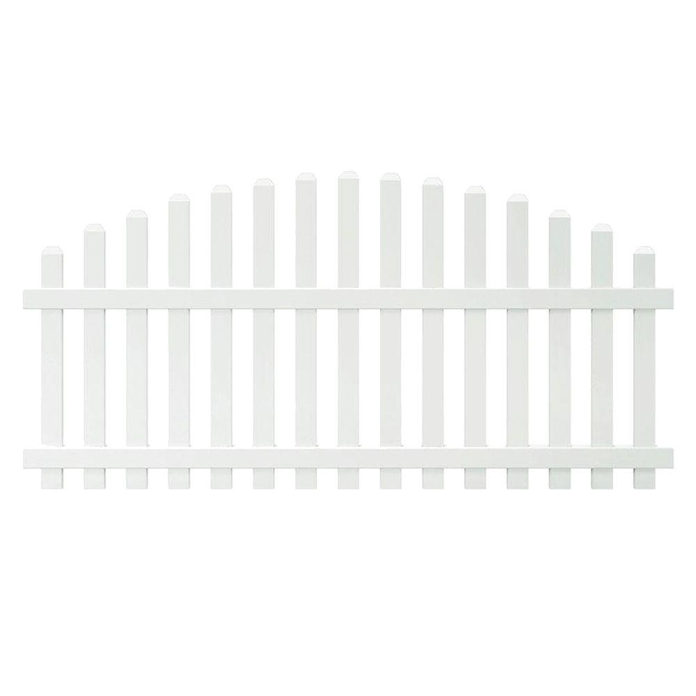 Veranda Glendale 4 ft. H x 8 ft. W White Vinyl Arched Top Spaced Picket Unassembled Fence Panel with 3 in. Dog Ear Pickets
