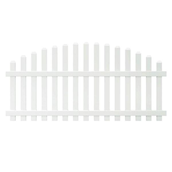 Glendale 4 ft. H x 8 ft. W White Vinyl Arched Top Spaced Picket Unassembled Fence Panel with 3 in. Dog Ear Pickets