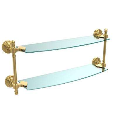Retro Wave Collection 18 in. Two Tiered Glass Shelf in Polished Brass