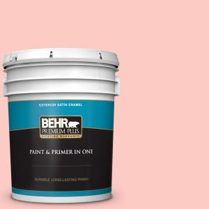 Behr Premium Plus 5 Gal 170a 2 Strawberry Mousse Satin Enamel Exterior Paint And Primer In One 905005 The Home Depot