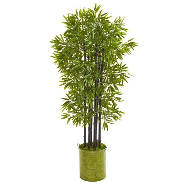 Indoor/Outdoor 57 in. Bamboo Artificial Tree with Black Trunks in Green Planter UV Resistant