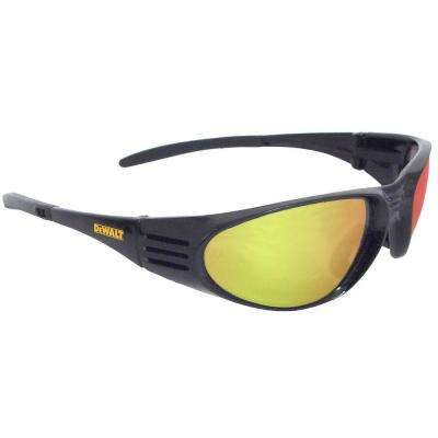 Safety Glasses Ventilator Black Frame with Yellow Mirror Lens