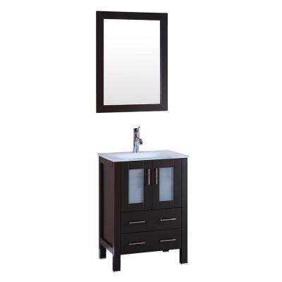 24 in. W Single Bath Vanity with Tempered Glass Vanity Top in White with White Basin and Mirror