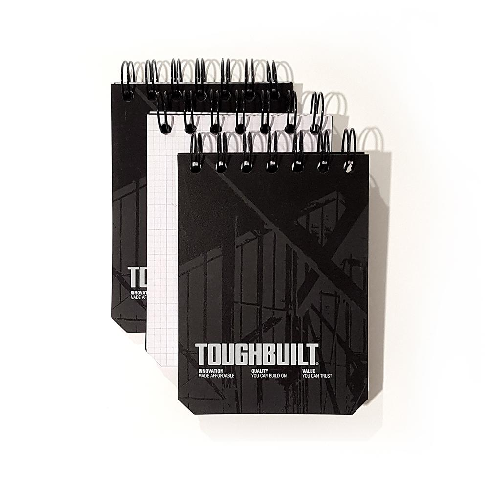 TOUGHBUILT Small Grid Notebooks with Plastic Cover, Black (3-Pack)